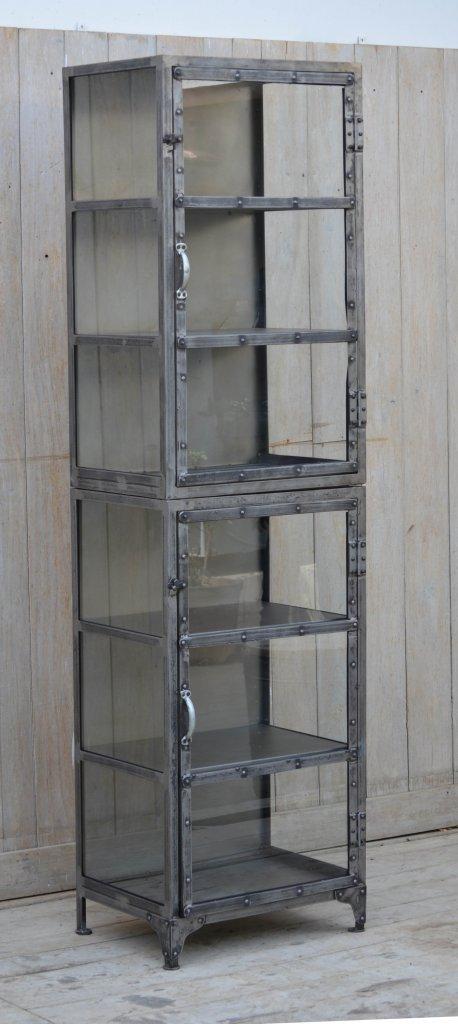 Högt och smalt vitrinskåp i metall Naturell Skåp& Skänkar Förvaring Myhomemyway se
