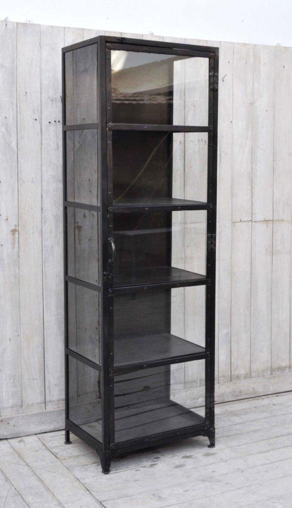 Högt och smalt vitrinskåp i metall Antikgrå svart finish Förvaring Myhomemyway se